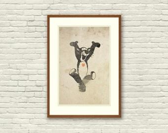Tigger Inspired Silhouette: 11X17 Art Print, With Heart Studios - Disney, Nursery, Gift, Poster, Vintage