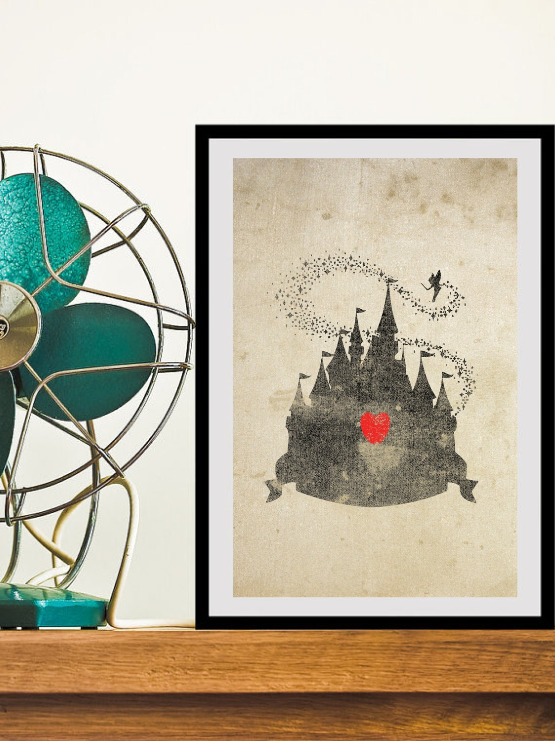 Disney Castle Inspired Silhouette 11x17 Art Print With Heart