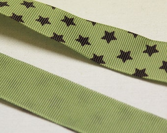 7/8' Inch - Gross Grain Sage Green Ribbon with Brown Stars - SOLD by Yard