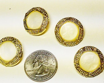 LOT of 4 Buttons - Gold & Creme - Plastic Buttons