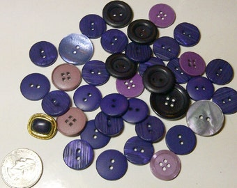 LOT of 38 Assorted Buttons - Purples -Plastic Assorted Buttons