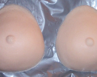 Size M Foam Breast Forms (Medium) B-Cup Falsies, Prosthetic Fake Boobs Special FX