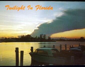 Twilight in 1970's Florida, Vintage Postcard