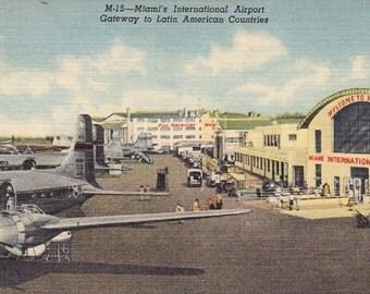 Vintage 1940's Postcard Miami International Airport. - Unused