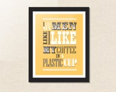 CUSTOM COLOUR Inspirational quote print / poster / wall art / gift - Coffee quote - pink / blue / yellow / green / custom