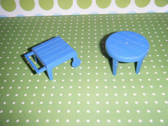 Vintage Plastic Dollhouse Furniture Marx Outdoor Furniture Patio Tables Blue