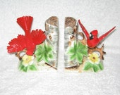 Vintage CARDINAL Bird Figurine Porcelain BOOK Ends truely Beautiful and detailed Ucagco