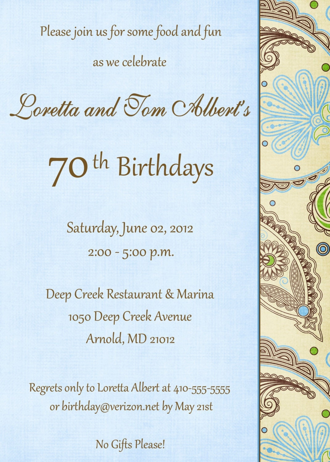 5x7 70th Birthday Invitation may be altered by ...