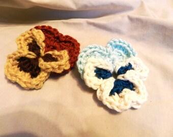 Custom Perfectly Pansy Crochet Hair Clip