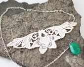CLEARANCE Glam floral lace choker - Dramatic ivory french lace, oval green turquoise and silver toned chain - Eco-friendly