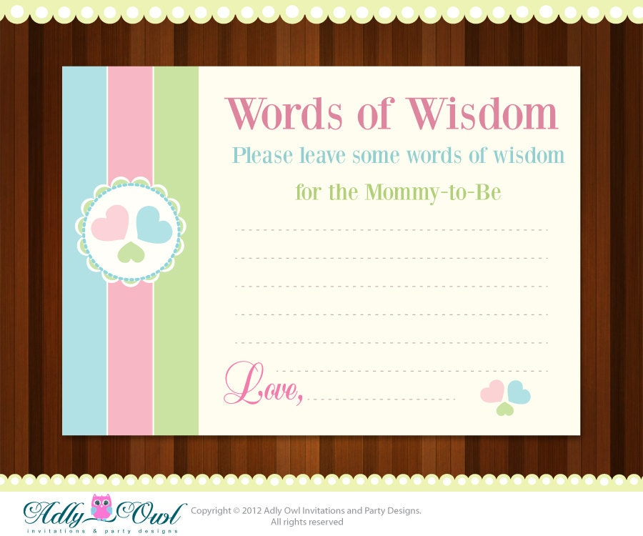 word of wisdom baby shower advice card with by adlyowlinvitations