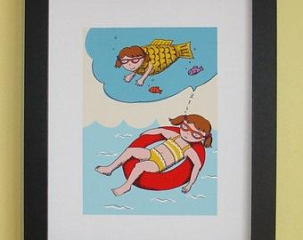 8x6.5 Illustration print, Dreaming Girl