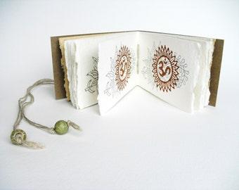 Om Mandala Book, meditation book, handmade book, yoga book, mantra book, hindu symbol, spiritual text, sacred text, handmade paper, OOAK