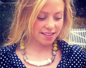 White Coral and Mustard Beaded Necklace