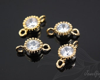 H704- 40pcs - Cubic Zircornia-Luster Gold Plated