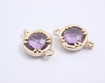S091- 20PCS - Gold plated -Amethyst -Glass