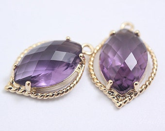 S132- 20PCS - Gold Plated -Amethyst -Glass