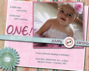 Baby Girl Birthday Invitations - Printed w/ Envelopes OR Printable Digital File
