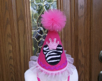 Girls First Birthday Party Hat - Minnie  Mouse Birthday Theme -