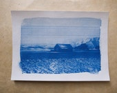 "Cyanotype photographic print ""Maison Mongole"" - with date and signature"