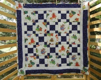 Babys First Christmas Quilt in Blue