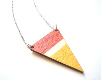 Wood Geometric Necklace, Wood Triangles Necklace,Wood Mint Necklace,Geometric Jewelry