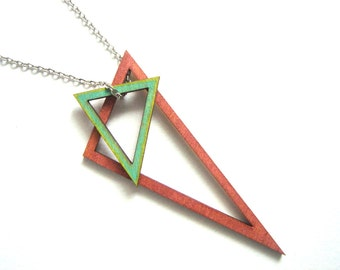 Geometric Necklace, Wood Triangles Necklace,Geometric Jewelry