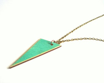 Wood Geometric Necklace, Wood Triangles Necklace,Geometric Jewelry