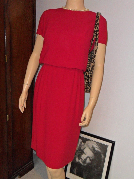 Vintage 50s 60s Red Raspberry Dress Medium