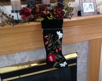 Pomegranate and White and Red Christmas Flowers Stocking Pattern