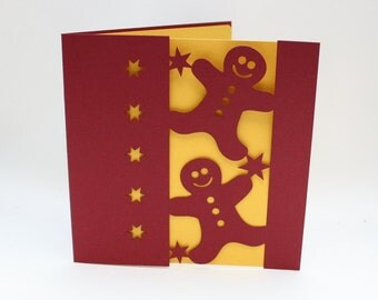 Paper cut  Christmas Gingerbread man Silhouette Greetings Card