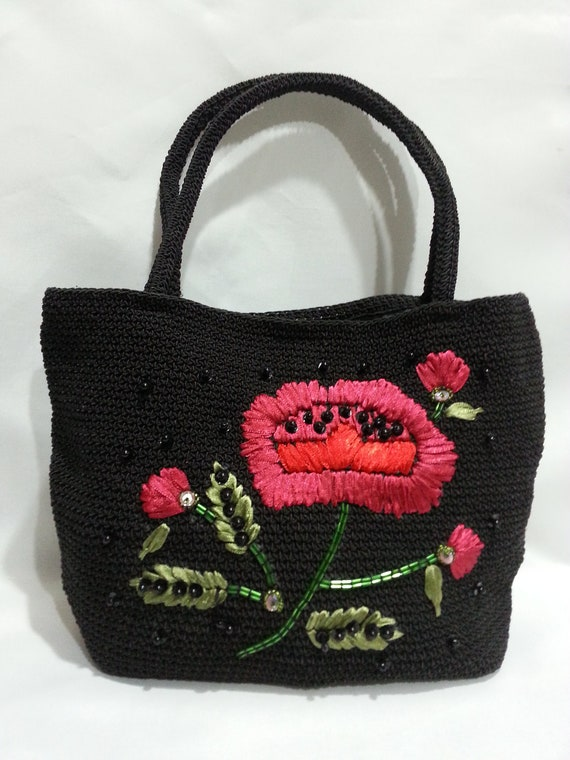 Items similar to black embroidery rose purse handbag with