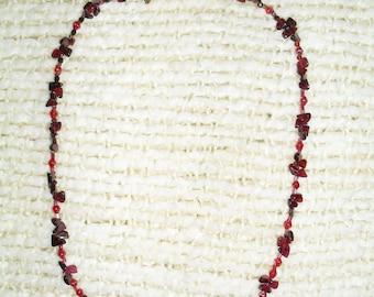 "hand made natural ""Garnet"" stone necklace, 20"" long"