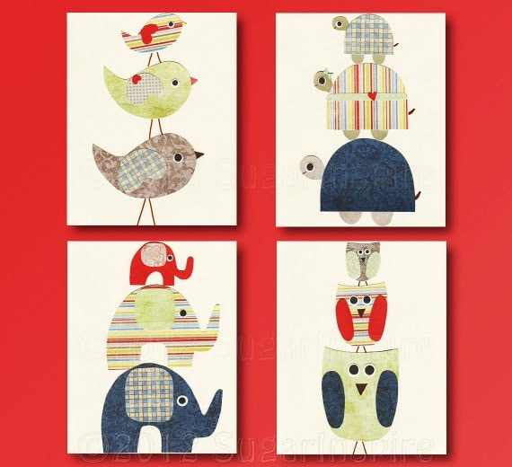 Items similar to animals nursery art print set 5x7 kids for 5x7 room design