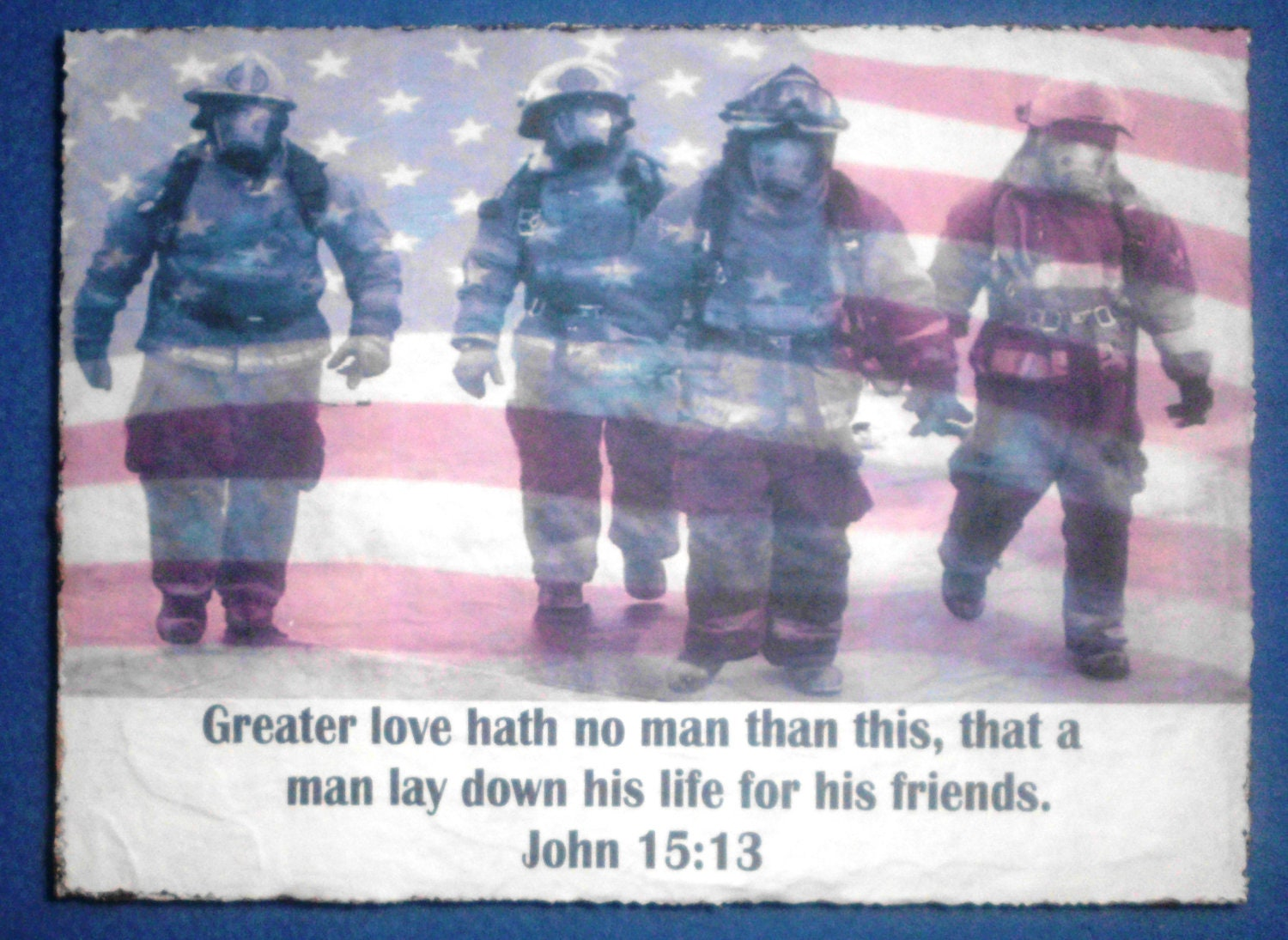 Firemen John 15 13 Shabby Chic Recycled Wood Antique Look