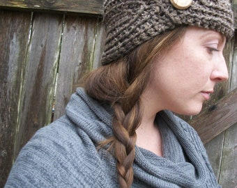 Ear Warmer , Soft Knit Headband ,  Brown Earwarmer , Wood Button