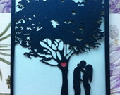Laser Cut Wedding Invitation, Love Story Tree Invitation, Custom Personalized