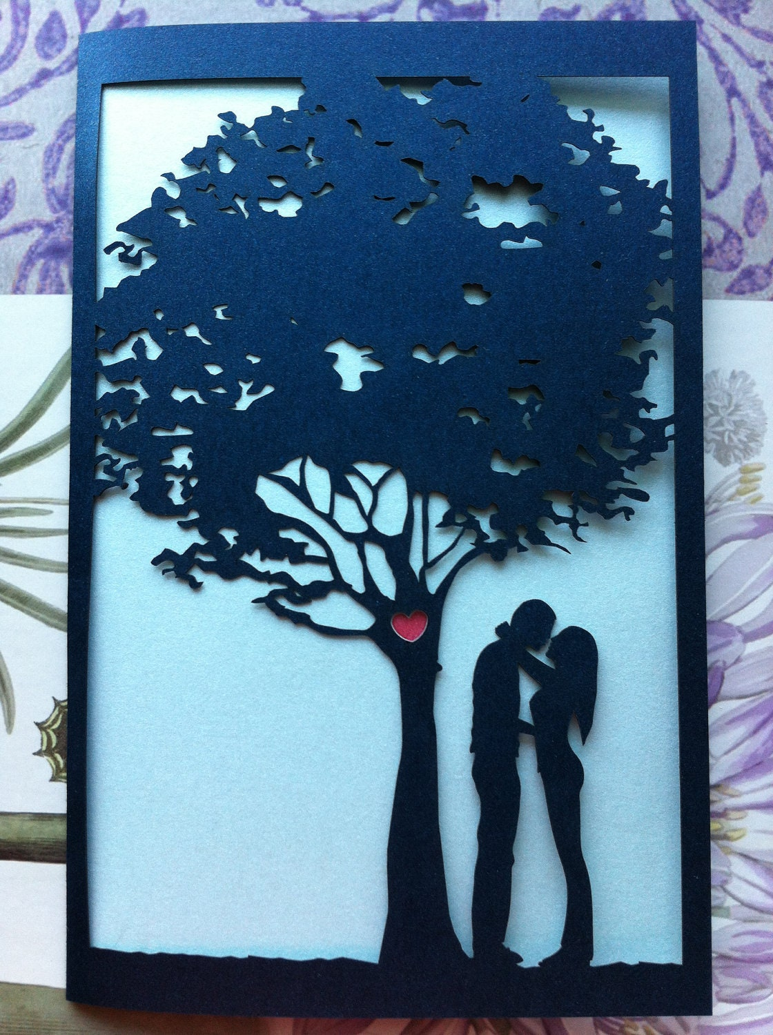 Laser Cut Wedding Invitation Love Story Tree Invitation
