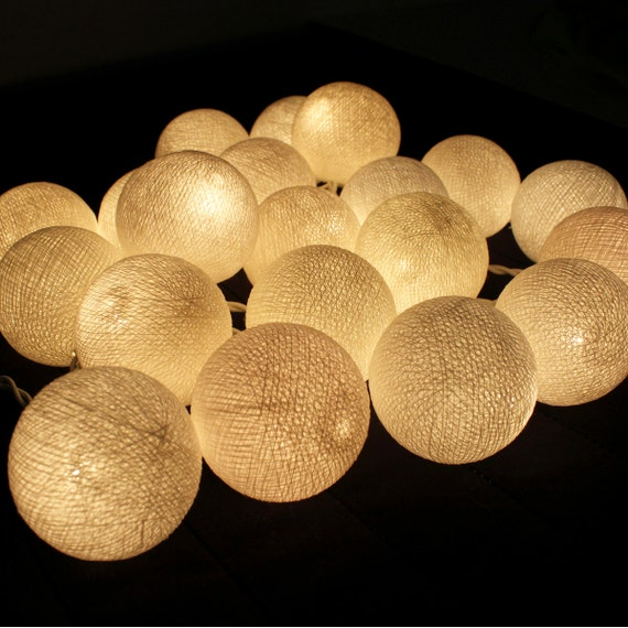 white cotton ball string lights by pattrawan on etsy. Black Bedroom Furniture Sets. Home Design Ideas