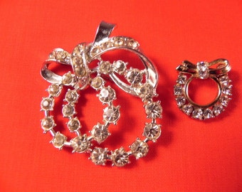 Vintage ChristmasPins/ Brooches Double Wreath and Small  Rhinestone Silver Tone Metal