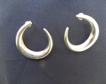 Vintage Earrings Sterling Silver Crescent Shaped  for Pierced Ears Hallmarked .925