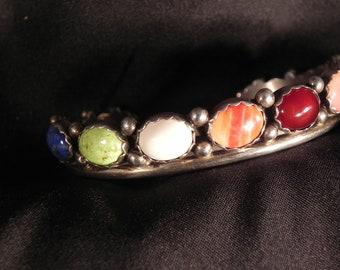 Vintage Cuff Bracelet Native American MultiColored SevenStone Sterling  Ramona Guerro