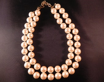 Vintage Necklace Monet Two Strands Faux 16 mm Pearls Marked on Gold Tone Bar