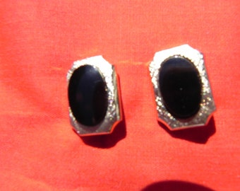 Handcrafted  Vintage Converted Cuff Links to Pierced Earrings Gold Tone Black Setting