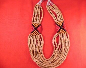 Vintage  Necklace Tribal Handcrafted Ten Strand Wood Beads
