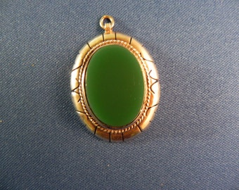 Vintage Pendant  With Green Stone Setting Hallmarked .925 and Makers Mark