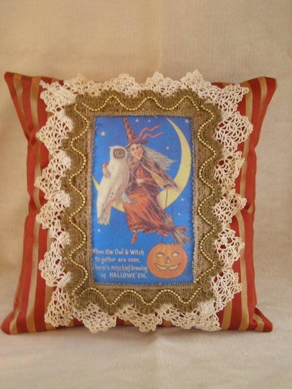 Vintage Halloween Decorative Pillow 12x12