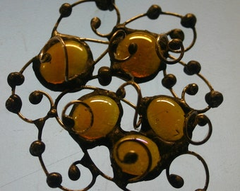 yellow stained glass necklace.