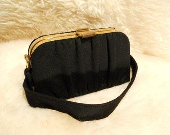 Art Deco Ingber Gathered Black Wool Flannel Box Purse Handbag, c. 1940