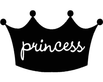 """Girls, Daughters room Crown Saying """"Princess"""" quote wall Sticker Vinyl Decal 18"""" x 11"""""""